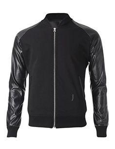 FLATSEVEN Mens Two Tone Varsity Bomber Baseball Jacket with Faux Leather Sleeve (VSJ302) Black, M FLATSEVEN #jackets #menswear #mens fashion #denim