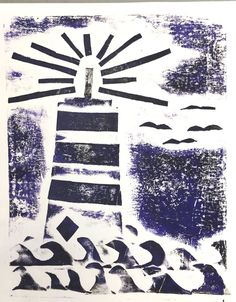 Lighthouse Collagraph Printmaking Project - Kids Art Classes, Camps, Parties and Events - Small Hands Big Art Kids Art Class, Art Lessons For Kids, Art For Kids, Easy Art Projects, Projects For Kids, 7th Grade Art, Grade 2, Collagraph Printmaking, Lighthouse Art