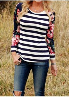 Floral Striped Printed Splicing T-Shirt Without Necklace