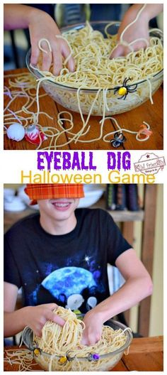 Eyeball Dig Halloween Game for Kids and Teens to Play Eyeball Dig is an easy & grossly fun DIY Halloween game to play with kids and teens. It's perfect for a school party. Great game idea for Minute to Win It! Eyeball Dig is an easy & gross. Soirée Halloween, Halloween Games For Kids, Halloween Class Party, Halloween Birthday, Halloween Party Activities, Halloween Games Adults, Halloween Party Treats, Fall Party Ideas For Kids School, Holloween Treats For Kids