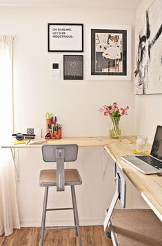Home Office - wood and metal, neutral colors, clean, simple, pictures  quotes hanging for inspiration