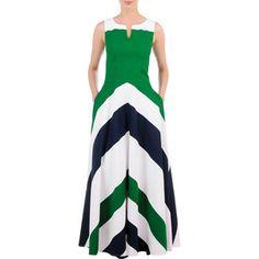Chevron stripe colorblock maxi dress