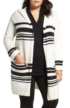 Free shipping and returns on Vince Camuto Stripe Hooded Cardigan (Plus Size) at Nordstrom.com. A cozy outer later for casual days, a long stripey cardigan takes shape with an oversized hood, open front and drop-shoulder styling.