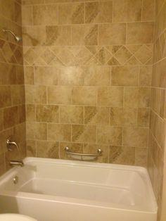 Great Beige Tile Tub Surround With Diamond Border Pattern. Tiled Bathtub Surround.