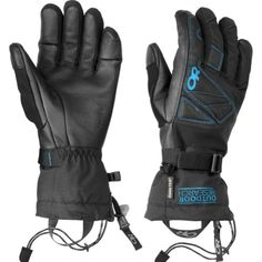 Outdoor Research Northback Sensor Gloves (Black/Hydro - LG) Waterproof-breathable glove is also windproof. Leather palm is soft, tactile, and--most importantly--touchscreen sensitive. Precurved finger construction minimizes break-in period. Ladder-lock wrist cinch allows one handed tighteningloosening. Nose wipe pad on the thumb.  #OutdoorResearch #Apparel