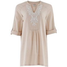 Susanna Embroidered Tunic in Beige (70 CAD) ❤ liked on Polyvore featuring tops, tunics, dresses, embroidered tunic, loose fitting tops, v neck tunic, long tops and embroidery tops