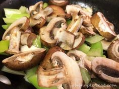 Simple Mushroom and Celery Stir Fry (Paleo, Gluten Free, Vegan) - Oh Snap! Let's Eat! Paleo Side Dishes, Veggie Dishes, Veggie Recipes, Asian Cooking, Cooking Oil, Mushroom Salad, Vegetable Salad, Mushroom Recipes, Stir Fry