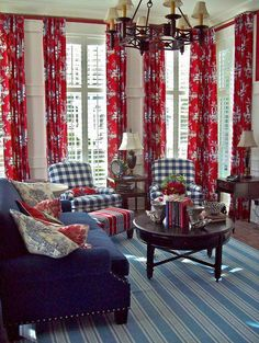 Love the red drapes! Nancy's Daily Dish: Traditional Red White & Blue Rooms with Transferware Living Room Red, Living Room Decor, Hm Home, Red Curtains, High Curtains, Blue Rooms, White Rooms, Red White Blue, Family Room