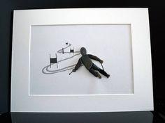 Steinbild  Pebble Art  Skifahrer Geschenk  Bild gerahmt