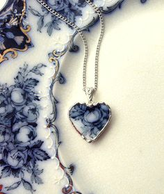Broken China Jewelry Heart Pendant antique 1880's flow blue roses antique china broken plate