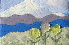 Mountain Handmade Fabric Postcard Quilted Greeting by SewUpscale, $13.00