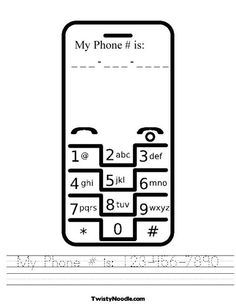 My Phone # is: 123-456-7890 Worksheet - Twisty Noodle