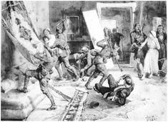 İzmir'in işgali. 1919. Ressam Pissani tablosu. (Kara kalem.)