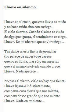 """""""Llueve en silencio"""" poema de Fernando Pessoa                                                                                                                                                                                 Más"""
