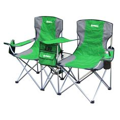 GigaTent Sit Side By Side Double Folding Padded Camping chair in Green, Gray