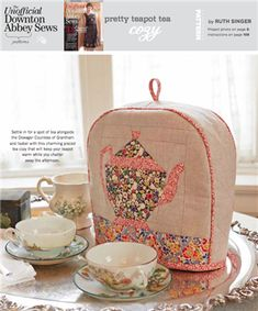 PRETTY TEAPOT TEA COZY - Media - Sew Daily. Or make sewingmachine cover with piping on ends like this.