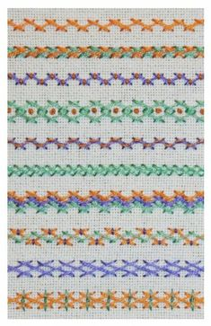 Variaciones de caballito / Herringbone stitch variations - Häkeln-Stricken-u. Embroidery Stitches Tutorial, Embroidery Sampler, Hardanger Embroidery, Embroidery Techniques, Embroidery Applique, Cross Stitch Embroidery, Embroidery Patterns, Sewing Stitches, Crazy Quilting