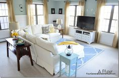 crisp and clean family room