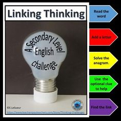 Anagram Linking Thinking Bundle Critical Thinking Activities, Activities For Kids, Fast Finishers, Higher Order Thinking, Group Work, Word Work, Literacy Centers, Student Learning, Challenges