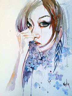 This page is official online store for purchacing original fine art by Natiq Jalil. Watercolor Portraits, Watercolor And Ink, Alcohol Ink Painting, Fine Art Prints, The Originals, Fall, Pretty, Anime, Watercolors