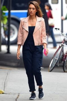 Jessica Alba wearing Rebecca Minkoff Wes Moto Perforated Leather Jacket in Nude and Hudson London Overalls in Night Train.