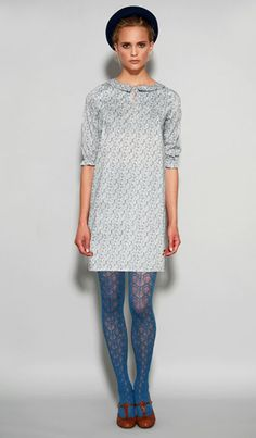 Delightful Dove-Grey Textured Dress With Peter-Pan Collar and Three-Quarter Sleeve, plus the hat, tights and mary-janes. Stunning Dresses, Pretty Dresses, Blue Stockings, Wool Tights, Into The Fire, One Clothing, Women Lifestyle, Blue Leggings, Tights Outfit