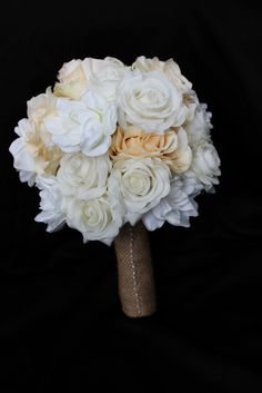 Rustic weddings are HUGE right now! Burlap. burlap and more burlap! This beautiful rustic feel brides bouquet is the perfect addition to your rustic or country themed wedding! This wedding bouquet fea