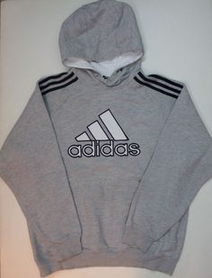 Adidas Outwear Sweatshirt Hoodie Gray Medium M White Logo Black Stripes Men #Adidas #Hoodie