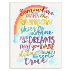Stupell Decor Somewhere Over the Rainbow With Rainbow Wall Plaque Art - BRP-1748_WD_10X15