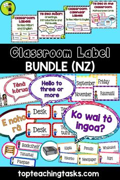 Brighten up your classroom while teaching Te Reo with this great bundle!  This bundle includes the following four products: Te Reo in the Classroom Multi-purpose Te Reo and English Cards Classroom Labels - Te Reo Māori and English Classroom Calendar Labels - Te Reo Māori and English Te Reo Māori Greetings, Introductions and Farewells Classroom Display  These four products come in both English and Te Reo Māori.  Available from www.topteachingtasks.com Classroom Calendar, Classroom Labels, Primary Classroom, Classroom Displays, Classroom Decor, Elementary Teacher, School Resources, Teaching Resources, English Classroom