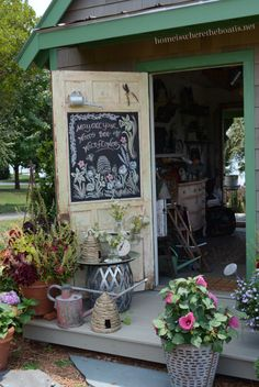 Chalkboard Door, May All Your Weeds *Bee* Wildflowers #chalkboard #jars #pottingshed