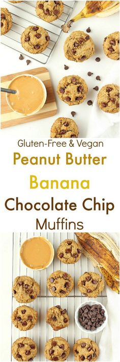 Peanut Butter Banana Chocolate Chip Muffins [Vegan / Gluten-Free]