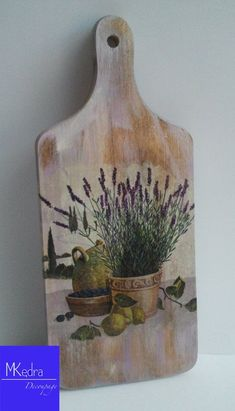 Items similar to Decorative cutting kitchen board with lavender gift Provence Mediterranean decoupage rustic shabby cottage for her on Etsy Decoupage Wood, Napkin Decoupage, Decoupage Furniture, Decoupage Vintage, Tole Painting, Painting On Wood, Arte Pallet, Home Crafts, Diy And Crafts