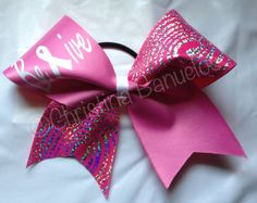 Breat Cancer Awareness Believe Cheer Bow on Etsy, $12.00