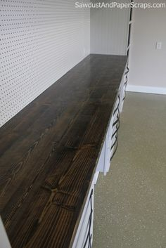 To build inexpensive, distressed wood countertops like I did in my Workshop, I do everything I ordinarily try NOT to do in the finishing process. Sand against the grain and unevenly.  Create dips a...