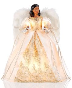 Holiday Lane African American Angel Tree Topper in Beige Dress, Only at Macy's