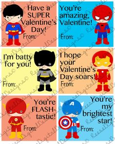 Printable Valentine's Day Cards Super Hero Kids Classroom Cards