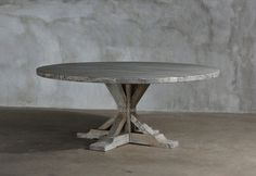 Reclaimed elm round dining table with trestle base. Each piece is handmade, unique by nature and available in 2 finish options and multiple sizes. Reclaimed Dining Table, Furniture Dining Table, Dining Table Legs, Dining Room, Trestle Legs, Trestle Tables, Plank Table, Table Sizes, Home Goods