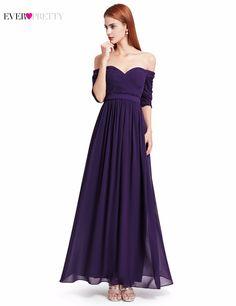 Evening Dress Ever Pretty EP07411 Women Elegant Off The Shoulder A Line  Chiffon Long Formal Party b494469a4429