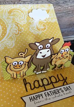 Farmyard Father's Day Card, using the Barn Stand Up, Virgil the Pig, Brownie the Cow and Cheepers the Chicken