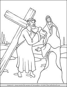 stations of the cross coloring pages 8 jesus meets the women of jerusalem