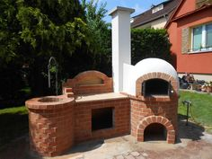 Backyard Bbq Pit, Fire Pit Patio, Barbecue Design, Grill Oven, Four A Pizza, Bbq Kitchen, Outdoor Oven, Bbq Area, Garden Buildings