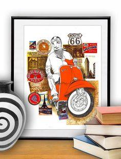 Red Vespa par Thesmokingcat sur Etsy, €25,00