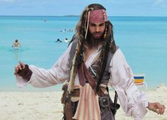 You might spy Captain Jack Sparrow walking along the beach at Castaway Cay. He's happy to chat and pose for pictures. | About.com Family Vacations #DCLphotos #disneycruise #dcl #piratesofthecaribbean #captainjack
