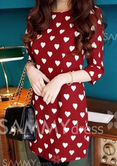 $9.11 Slimming Strappy Scoop Neck Color Block Love Heart Print Dress For Women