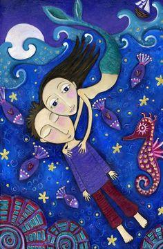 """Childrens pared decoración sirena vivero impresión del arte de la pared del arte popular caprichoso - """"The Little Mermaid"""""""