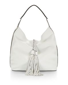 Isobel+Leather+Hobo+Bag,+White+by+Rebecca+Minkoff+at+Neiman+Marcus.