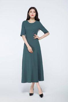 dark green dress, linen maxi dress, maxi dress with sleeves,  linen dress, linen dress pattern, womens dresses, made to order   C1062