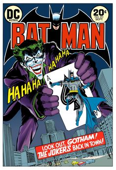 Neal Adams version of the Joker--this artist helped turn the character into the murderous psychopath we love today--in this story he compares his smile to that of a shark
