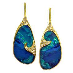 Lauren Harper Green Blue Boulder Opal White Diamond Gold Drop Earrings #opalsaustralia